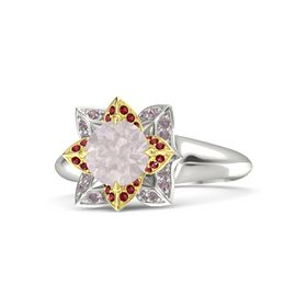 Round Rose Quartz Platinum Ring with Ruby and Rhodolite Garnet