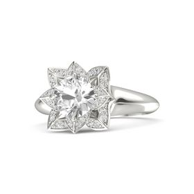 Round Rock Crystal Platinum Ring with White Sapphire