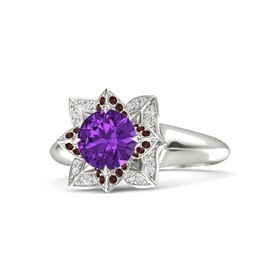 Round Amethyst Platinum Ring with Red Garnet and White Sapphire