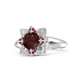 Round Red Garnet Platinum Ring with Ruby and Diamond