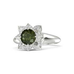 Round Green Tourmaline Platinum Ring with White Sapphire