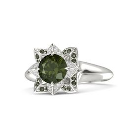 Round Green Tourmaline Platinum Ring with White Sapphire and Green Tourmaline