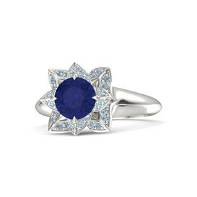 Round Blue Sapphire Platinum Ring with Aquamarine and Blue Topaz