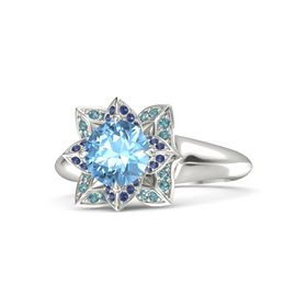 Round Blue Topaz Platinum Ring with Blue Sapphire and London Blue Topaz