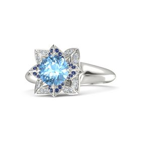 Round Blue Topaz Platinum Ring with Blue Sapphire and Diamond