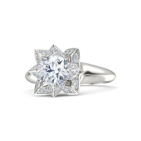 Round Diamond Platinum Ring with Diamond
