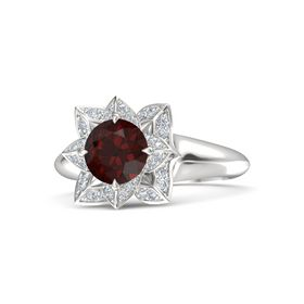 Round Red Garnet Sterling Silver Ring with Diamond
