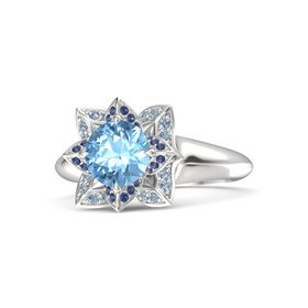 Round Blue Topaz Sterling Silver Ring with Blue Sapphire and Blue Topaz