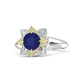Round Blue Sapphire Sterling Silver Ring with Diamond