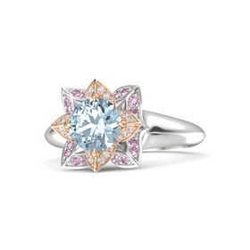 Round Aquamarine Sterling Silver Ring with White Sapphire and Pink Sapphire