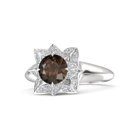 Round Smoky Quartz Sterling Silver Ring with Diamond
