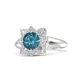 Round London Blue Topaz Sterling Silver Ring with Diamond