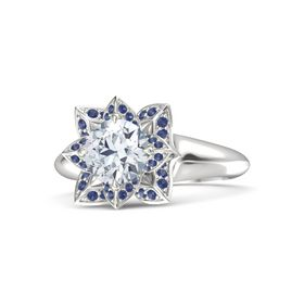 Round Moissanite Sterling Silver Ring with Blue Sapphire