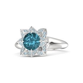 Round London Blue Topaz Sterling Silver Ring with Aquamarine
