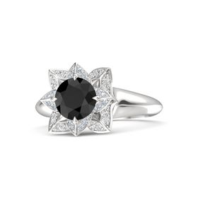 Round Black Diamond Sterling Silver Ring with Diamond and White Sapphire