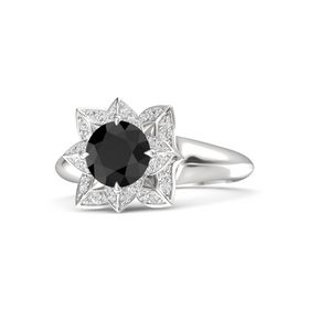 Round Black Diamond Sterling Silver Ring with White Sapphire