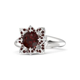 Round Red Garnet Sterling Silver Ring with Red Garnet