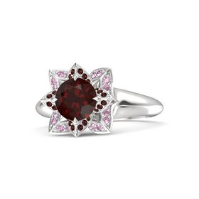 Round Red Garnet Sterling Silver Ring with Red Garnet and Pink Sapphire