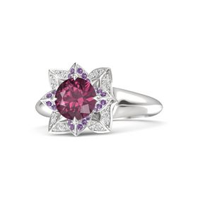 Round Rhodolite Garnet Sterling Silver Ring with Amethyst and White Sapphire