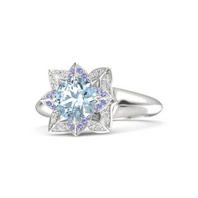 Round Aquamarine Sterling Silver Ring with Iolite and White Sapphire