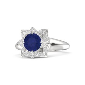 Round Blue Sapphire Sterling Silver Ring with White Sapphire