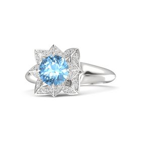 Round Blue Topaz Sterling Silver Ring with White Sapphire