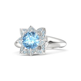 Round Blue Topaz Sterling Silver Ring with Aquamarine