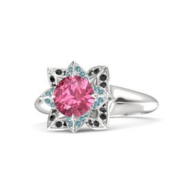 Round Pink Tourmaline Sterling Silver Ring with London Blue Topaz and Black Diamond