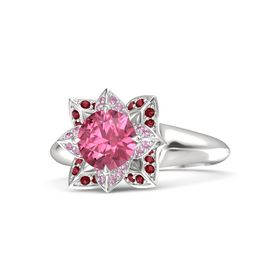 Round Pink Tourmaline Sterling Silver Ring with Pink Sapphire and Ruby