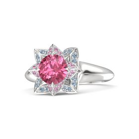 Round Pink Tourmaline Sterling Silver Ring with Pink Sapphire and Blue Topaz