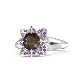 Round Smoky Quartz Sterling Silver Ring with Amethyst