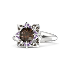 Round Smoky Quartz Sterling Silver Ring with Amethyst and Smoky Quartz