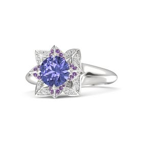 Round Tanzanite Sterling Silver Ring with Amethyst and White Sapphire