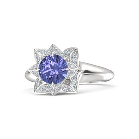 Round Tanzanite Sterling Silver Ring with Diamond