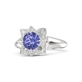 Round Tanzanite Sterling Silver Ring with White Sapphire