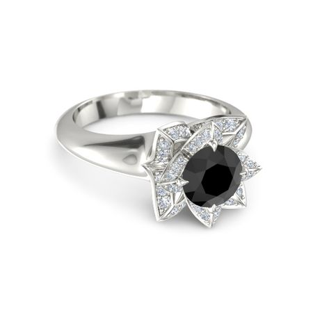 black 14k white gold ring with