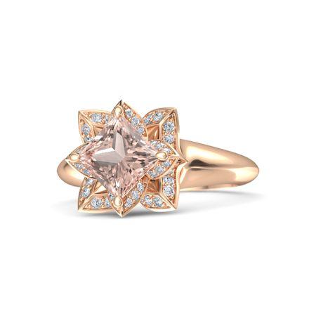 Princess Morganite 14k Rose Gold Ring With Diamond Lotus Ring Gemvara