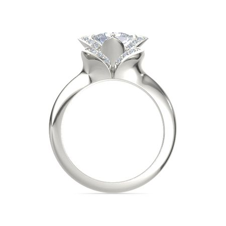 Princess-Cut Lotus Ring