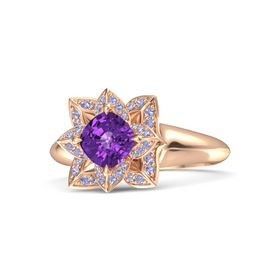 Cushion Amethyst 14K Rose Gold Ring with Tanzanite