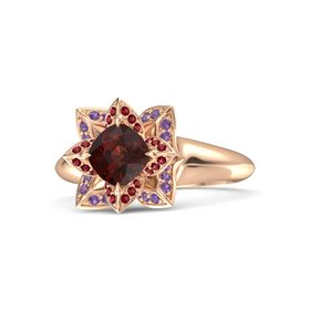 Cushion Red Garnet 14K Rose Gold Ring with Ruby and Amethyst
