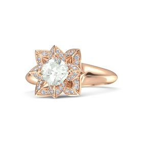 Cushion Green Amethyst 14K Rose Gold Ring with Diamond