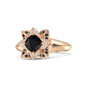 Cushion Black Onyx 14K Rose Gold Ring with White Sapphire and Black Diamond