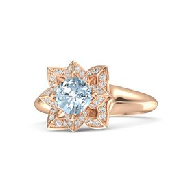 Cushion Aquamarine 14K Rose Gold Ring with White Sapphire
