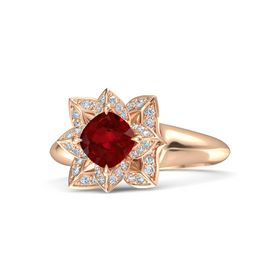 Cushion Ruby 14K Rose Gold Ring with Diamond