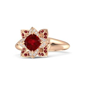 Cushion Ruby 14K Rose Gold Ring with White Sapphire and Ruby