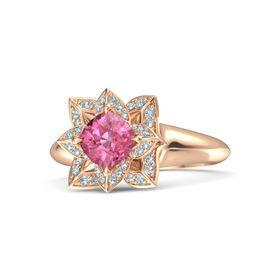 Cushion Pink Tourmaline 14K Rose Gold Ring with Aquamarine