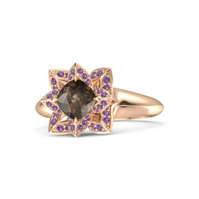 Cushion Smoky Quartz 14K Rose Gold Ring with Amethyst
