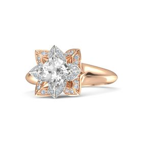Cushion Rock Crystal 14K Rose Gold Ring with Diamond