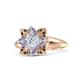 Cushion Diamond 14K Rose Gold Ring with Amethyst and Black Diamond