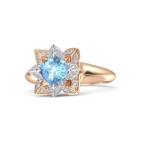 Cushion Blue Topaz 14K Rose Gold Ring with Diamond